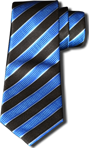 Belpasso - Black and Blue Silk Striped Mogador Silk
