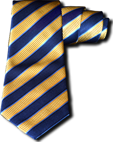 Belpasso - Navy Blue and Gold Silk Striped Mogador silk
