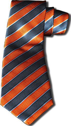 Belpasso - Navy Blue and Orange Mogador Silk Striped