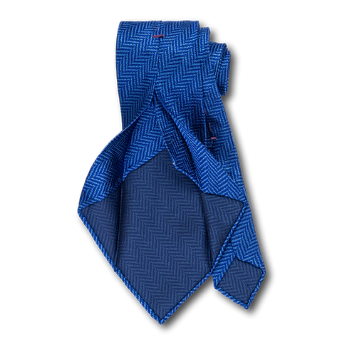 Carlo Franco Blue Woven Chevron Unlined Seven Fold Tie