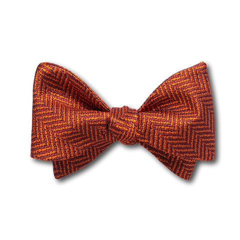 Carlo Franco Orange Woven Chevron Bow
