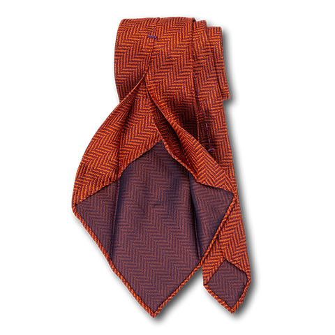 Carlo Franco Orange Woven Chevron Unlined Seven Fold Tie