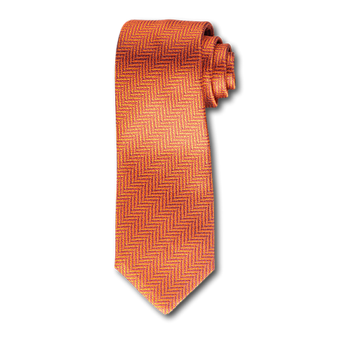 Carlo Franco Orange Woven Chevron Seven Fold Tie