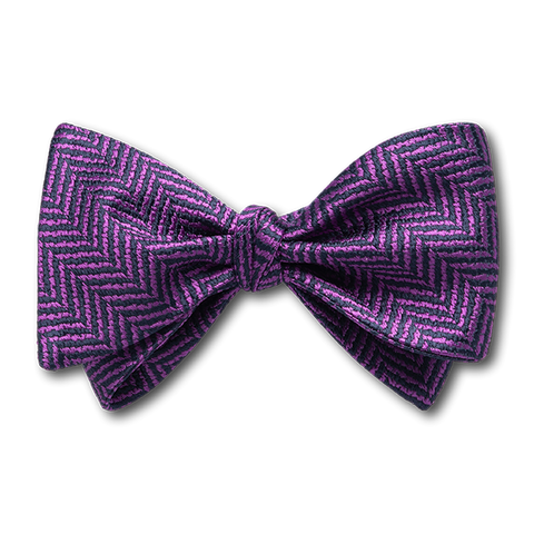 Carlo Franco Purple And Navy Woven Chevron Bow