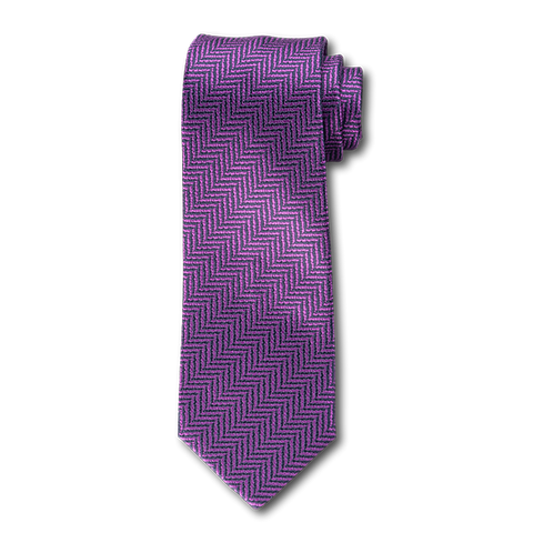 Carlo Franco Purple And Navy Woven Chevron Unlined Seven Fold Tie