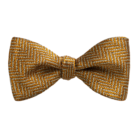 Carlo Franco Yellow And Gold Woven Chevron Bow