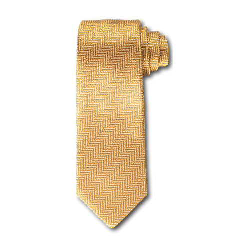 Carlo Franco Yellow And Gold Woven Chevron Unlined Seven Fold Tie