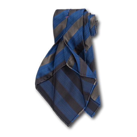 Carlo Franco Heather Blue With Black And Gray Satin Stripes Unlined Seven Fold Tie