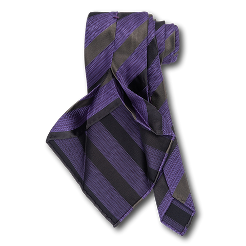 Carlo Franco Heather Purple With Black And Gray Satin Stripes Unlined Seven Fold Tie