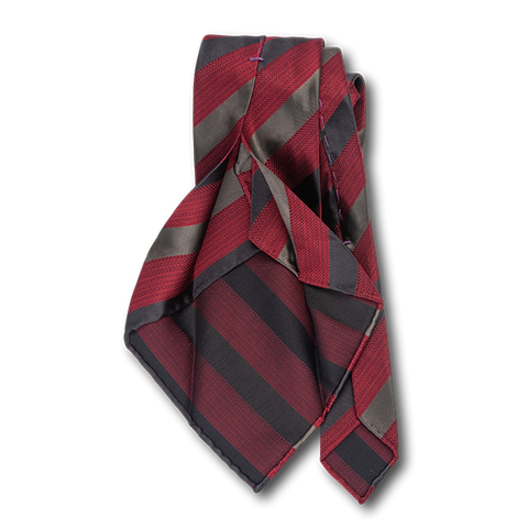 Carlo Franco Heather Red With Black And Gray Satin Stripes Unlined Seven Fold Tie