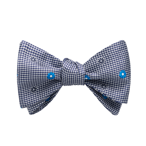 Carlo Franco Black And White Houndstooth With Bright Teal Blue Floral Neat Bow