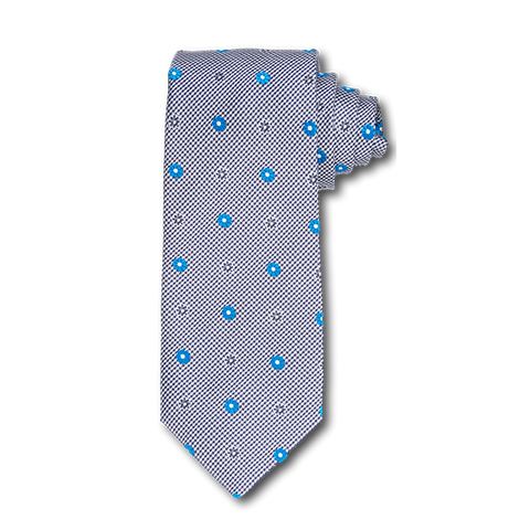 Carlo Franco Black And White Houndstooth With Bright Teal Blue Floral Neat Seven Fold Tie