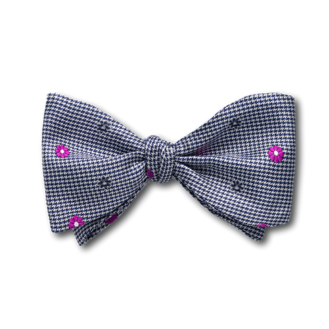 Carlo Franco Black And White Houndstooth With Hot Pink Floral Neat Bow