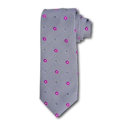 Carlo Franco Black And White Houndstooth With Hot Pink Floral Neat Seven Fold Tie