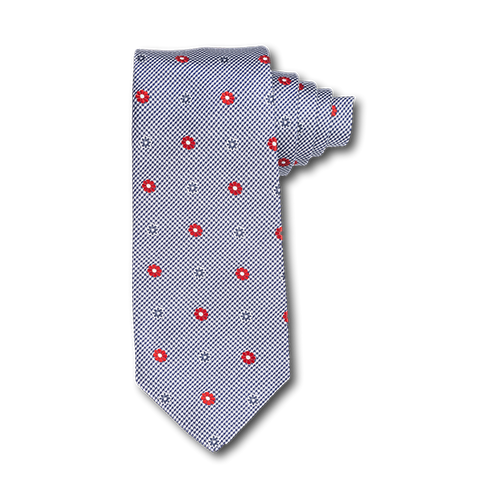 Carlo Franco Black And White Houndstooth With Red Floral Neat Seven Fold Tie