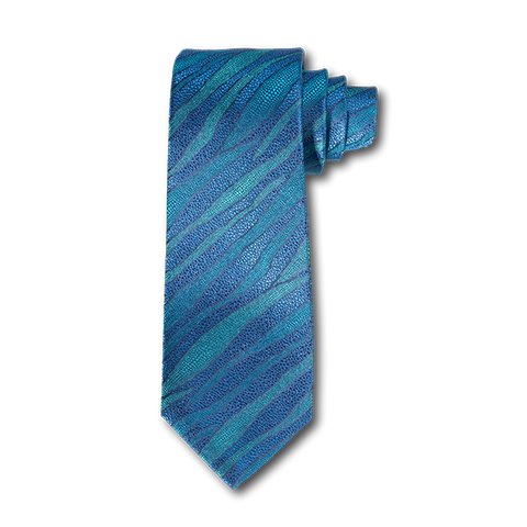 Carlo Franco Layers Of Nature - Blue & Teal Grean Unlined Seven Fold Tie