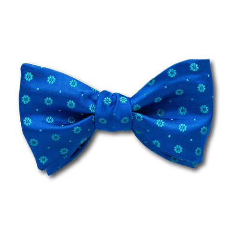 Carlo Franco Royal Blue Satin With Aqua Green Floral Neat Bow