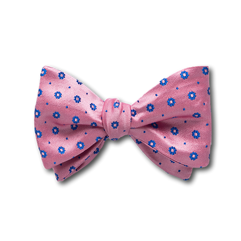 Carlo Franco Pink Satin With Blue Floral Neat Bow