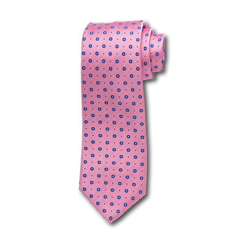 Carlo Franco Pink Satin With Blue Floral Neat Seven Fold Tie