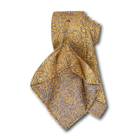 Carlo Franco Satin Floral - Yellow W Medium Blue Unlined Seven Fold Tie