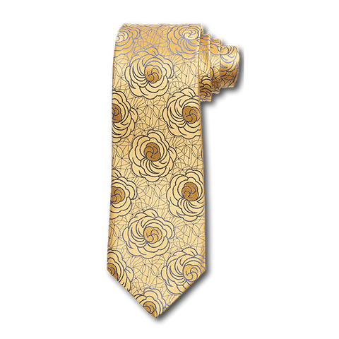 Carlo Franco Satin Floral - Yellow W Medium Blue Seven Fold Tie
