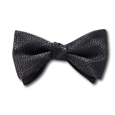 Carlo Franco Sharkskin Woven Texture Of Black Bow