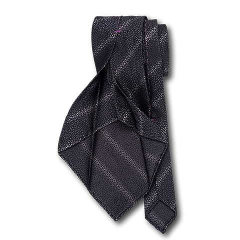 Carlo Franco Sharkskin Woven Texture Of Black Unlined Seven Fold Tie