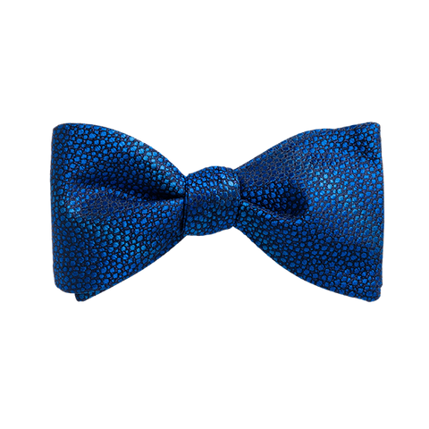 Carlo Franco Sharkskin Woven Texture Of Blue Bow