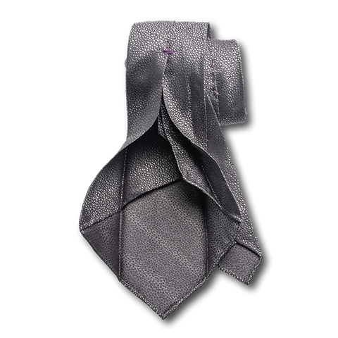 Carlo Franco Sharkskin Woven Texture Of Gray Unlined Seven Fold Tie