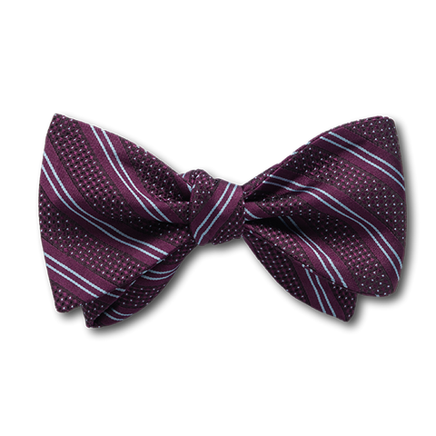 Carlo Franco Double Stripe W/ Dots - Burgundy W Light Silver Blue Bow