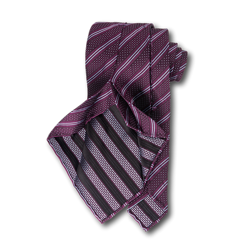 Carlo Franco Double Stripe W/ Dots - Burgundy W Light Silver Blue Unlined Seven Fold Tie