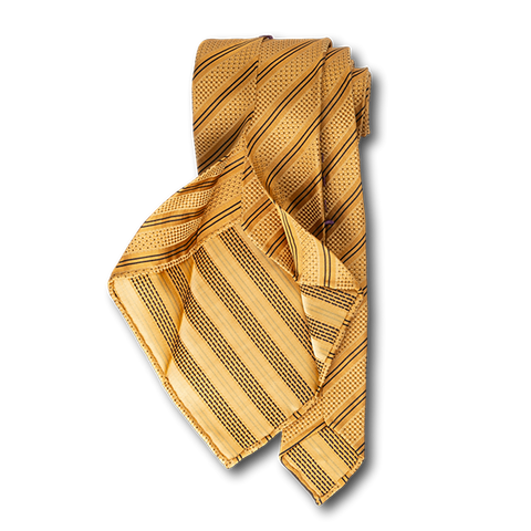 Carlo Franco Double Stripe W/ Dots - Gold W Black Unlined Seven Fold Tie