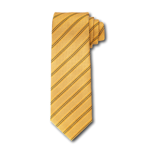 Carlo Franco Double Stripe W/ Dots - Gold W Black Seven Fold Tie