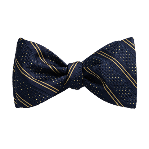 Carlo Franco Double Stripe W/ Dots - Navy W Gold Bow