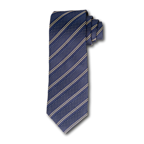 Carlo Franco Double Stripe W/ Dots - Navy W Gold Unlined Seven Fold Tie