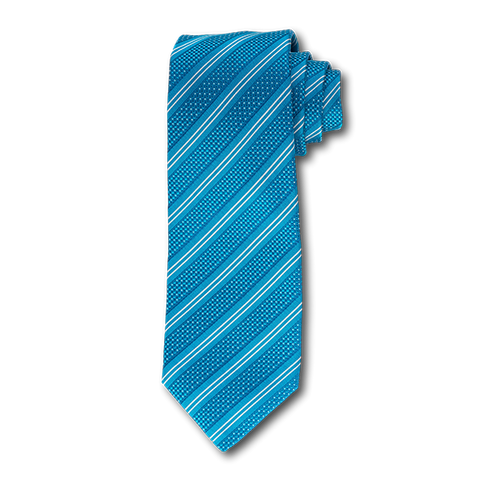 Carlo Franco Double Stripe W/ Dots - Teal W Navy And White Unlined Seven Fold Tie