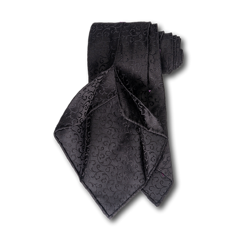 Carlo Franco Black Satin Tone on Tone Swirls Unlined Seven Fold Tie