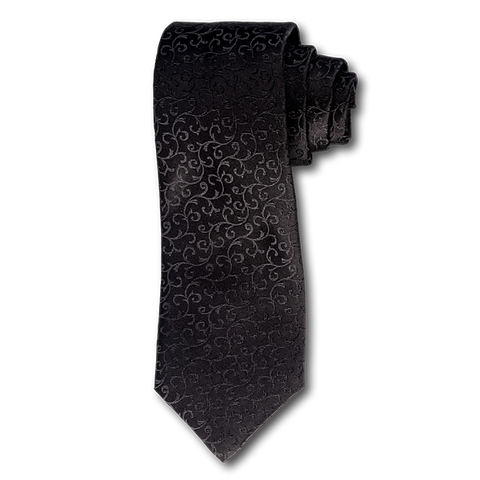 Carlo Franco Black Satin Tone on Tone Swirls Seven Fold Tie