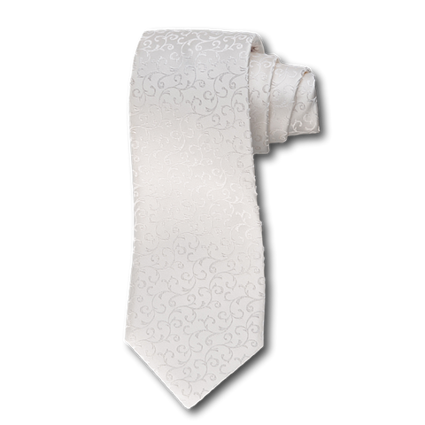 Carlo Franco Cream Satin Tone On Tone Swirls Seven Fold Tie