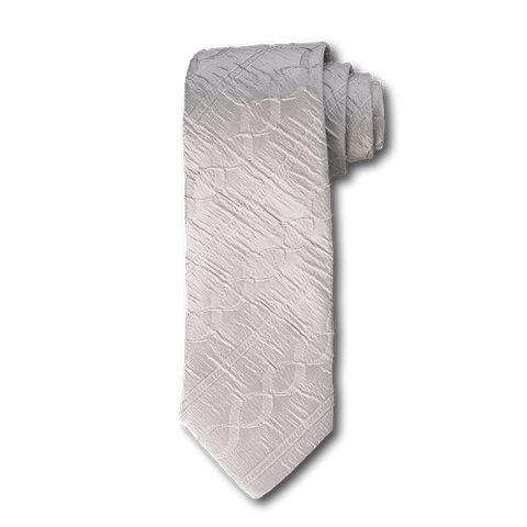 Carlo Franco Tone On Tone Twisted Stripe Seven Fold Tie in Silver