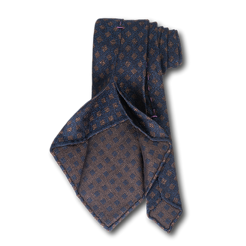 Carlo Franco Woven Linen And Silk In Navy W Brown Square Neat Unlined Seven Fold Tie