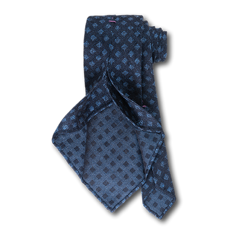 Carlo Franco Woven Linen And Silk In Navy W Light Blue Square Neat Unlined Seven Fold Tie