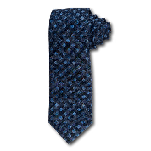 Carlo Franco Woven Linen And Silk In Navy W Light Blue Square Neat Seven Fold Tie