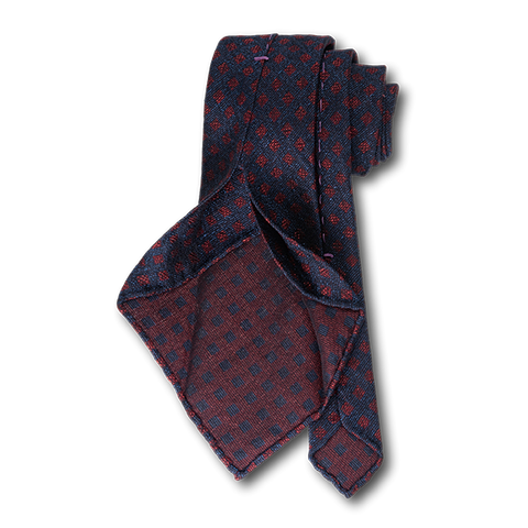 Carlo Franco Woven Linen And Silk In Navy W Red Square Neat Unlined Seven Fold Tie