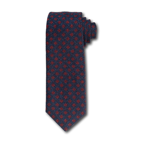 Carlo Franco Woven Linen And Silk In Navy W Red Square Neat Seven Fold Tie