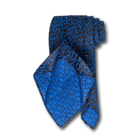 Carlo Franco Black Satin Field With Blue Swirls Unlined Seven Fold Tie