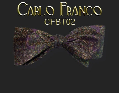 Dark Eggplant Purple Paisley Silk Bow Tie