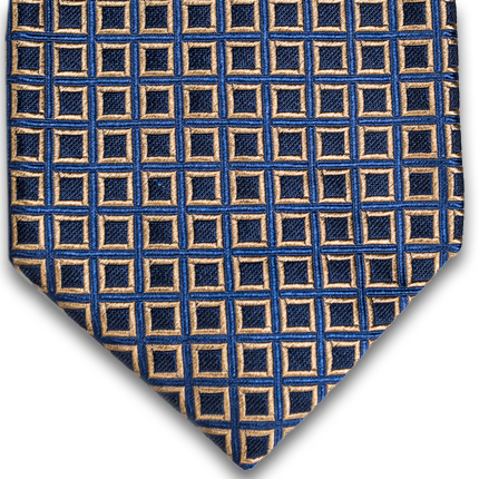 Blue, gold and black squares of woven silk.