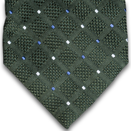 Bottle green with blue neat seven fold woven silk tie