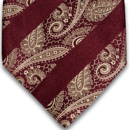 Gold and wine paisley w/ stripes